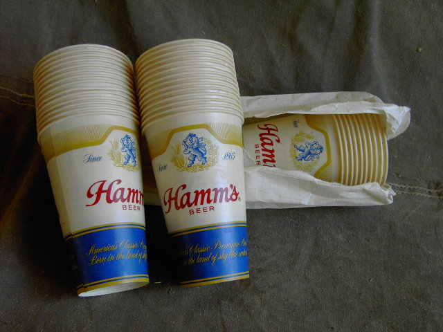 HAMMS BEER KEG TUMBLER DIXIE CUP PAPER GLASSES EASTON PENNSYLVANIA AMERICAN CAN COMPANY