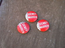 DEWEY WARREN CAMPAIGN BUTTON PIN GREEN DUCK CHICAGO ILLINOIS