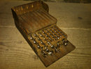 VICTORIAN ERA DRILL BIT SET WALNUT WOOD STORAGE BOX OAK LEAF IRWIN MOHAWK MANUFACTURER MARK
