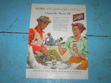 FISHERMAN SCHLITZ BEER AD PICNIC GIRL BEVERAGE ADVERTISEMENT