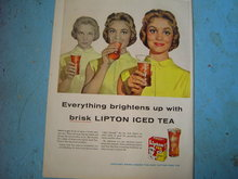 LIPTON BRISK TEA ADVERTISEMENT 1956 PRETTY GIRL BEVERAGE  AD