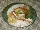 YOUNG VICTORIAN GIRL FLUE COVER PICTURE ROUND ZINC FRAME PRINT