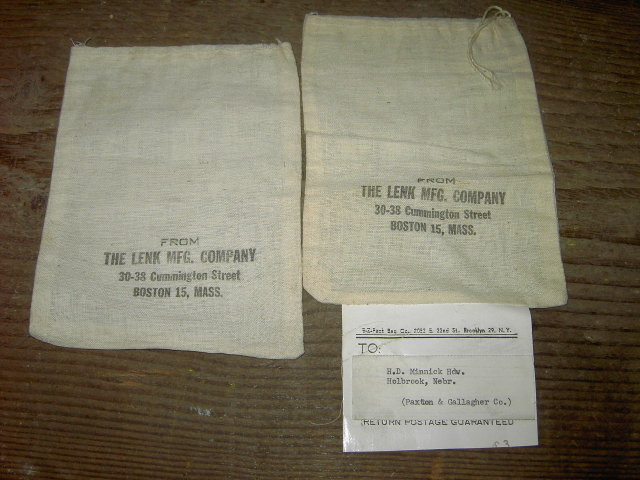 BOSTON MASSACHUSETTS COTTON SACK LENK MANUFACTURING CUMMINGTON STREET LINEN BAG HOLBROOK NEBRASKA PAPER TAG