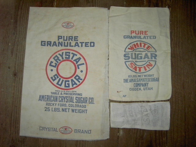 WORCESTER SALT CRYSTAL WHITE SATIN SUGAR SACK NEW YORK ROCKY FORD COLORADO OGDEN UTAH COTTON BAG