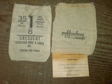 MOSSBERG NEW HAVEN CONNECTICUT SACK TRENTON NEW JERSEY CRESCENT INSULATED WIRE CABLE COTTON BAG HOLBROOK NEBRASKA TAG
