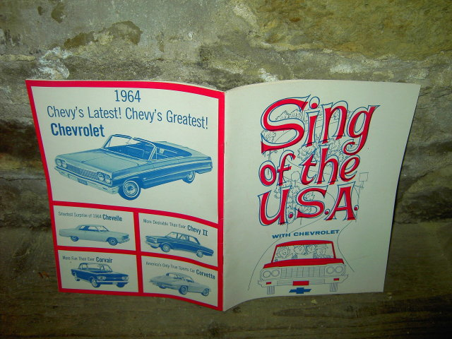 1964 CHEVY SING OF THE USA CHEVROLET FAMILY SONGBOOK CHEVELLE CORVAIR CORVETTE COVER PHOTO