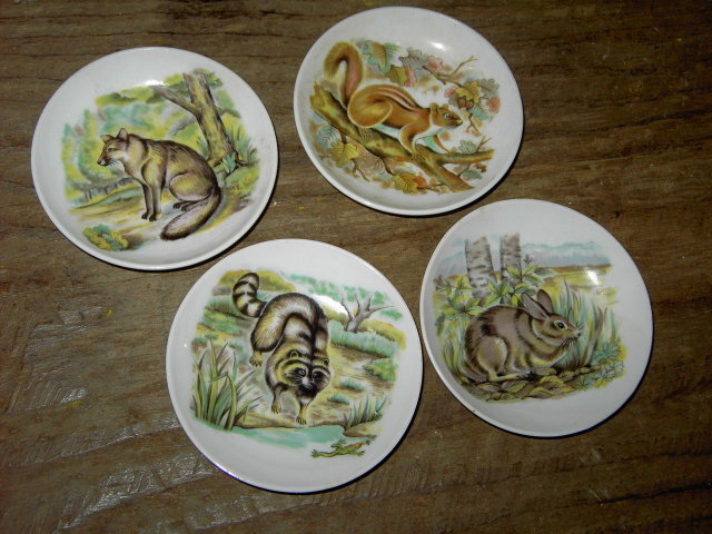 ANIMAL WILDLIFE BUTTER PAT PIN DISH CEREMIC COASTER