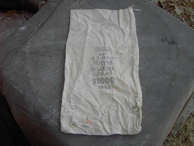 DENVER COLORADO MINT BAG QUARTER DOLLAR COTTON SACK 1958