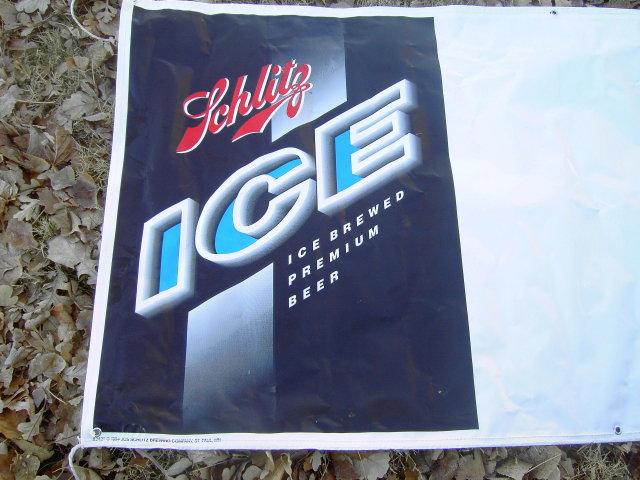 SCHLITZ ICE BEER SIGN PLASTIC BANNER WALL ADVERTISING 1994 ST PAUL MINNESOTA