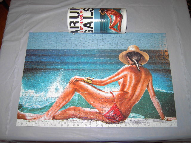 HARUMI BEACH GIRL SUNBATHING BEAUTY PUZZLE ORIGINAL TUBE BOX