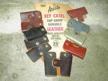 LEATHER KEY CASE ORIGINAL ARISTO ADVERTISING  STORE CARD RETRO COUNTER DISPLAY PURSE ACCESSORY