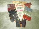 LEATHER KEY CASE ORIGINAL ARISTO ADVERTISING  STORE CARD RETRO COUNTER DISPLAY PURSE ACCESSORY