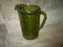 AVOCADO GREEN SORENO PITCHER ANCHOR HOCKING GLASS BEVERAGE SERVER