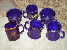 COBALT BLUE MUG GLASS COFFEE CUP SET
