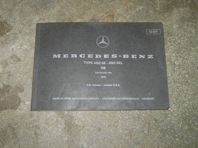 MERCEDES BENZ CATALOG 1972 OWNERSHIP MANUAL PARTS SERVICE BOOKLET