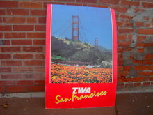 TRANS WORLD AIRLINES SAN FRANCISCO CALIFORNIA POSTER TWA AIR TRAVEL ADVERTISING PAPER SIGN
