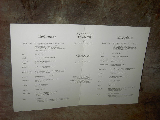 FRENCH LINE CRUISE SHIP MENU JEAN A MERCIER NUDE PICTURE PRINT