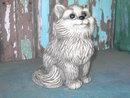 GRAY CAT BANK KITTEN FIGURINE STATUE 1977 DATE
