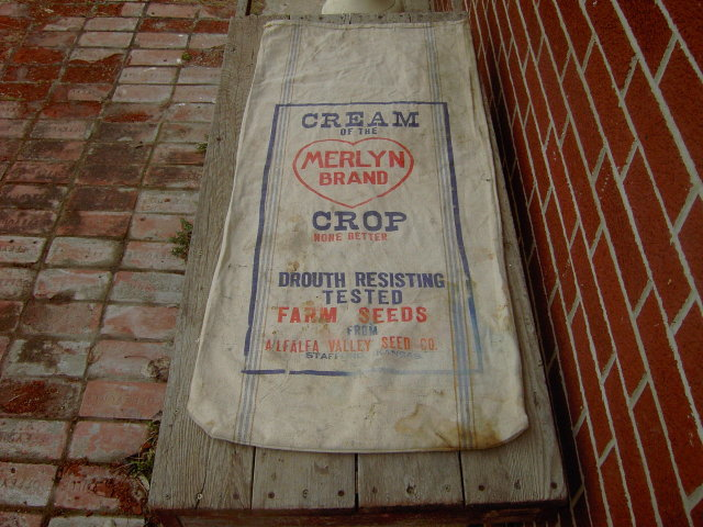 MERLYN BRAND FEED SACK STAFFORD KANSAS COTTON BAG ALFALFA VALLEY SEED COMPANY ADVERTISING