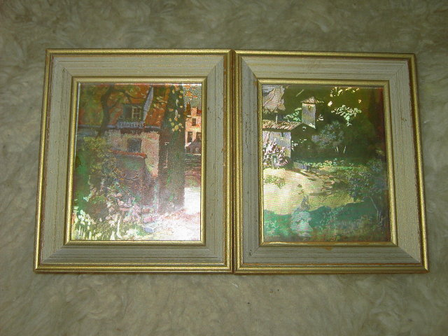 COUNTRY COTTAGE COLORED FOIL FRAMED PICTURE PRINT WINDSOR CHICAGO