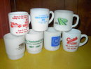 ANCHOR HOCKING GALAXY GLASS MUG COFFEE CUP RED CLOUD MARQUETTE NEBRASKA TIPTON KANSAS ADVERTISING
