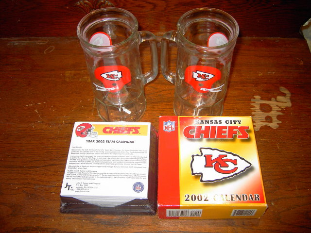 KANSAS CITY CHIEFS TRIVIA CALENDER HELMET LOGO BEER MUGS