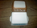 PYREX OVENWARE REFRIGERATOR CONTAINER LEFTOVER STORAGE DISH BLUE WHITE GLASS EARLY AMERICAN BROWN TONE BAKING PAN