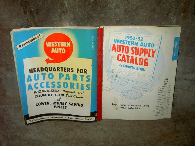 WESTERN AUTO SUPPLY STORE CATALOG 1952 1953 CHARTS BOOK MAIL ORDER AUTOMOBILE ACCESSORY PUBLICATION