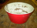 CHILDRENS WASHTUB SCRUB BUCKET RED WHITE LAUNDRY PAIL