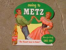 WESTERN SWING DANCE MUSIC COUPLE METZ BEER OMAHA NEBRASKA SIGN CARDBOARD BEVERAGE ADVERTISING POSTER STAND UP PROMOTION