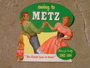 WESTERN SWING DANCE MUSIC COUPLE METZ BEER OMAHA NEBRASKA SIGN CARDBOARD BEVERAGE ADVERTISING POSTER STAND UP PROMOTION