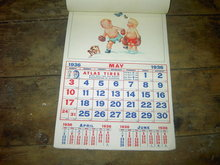 1936 STANDARD OIL COMPANY CALENDER TODDLER BOY ANIMATED ACTION PICTURE