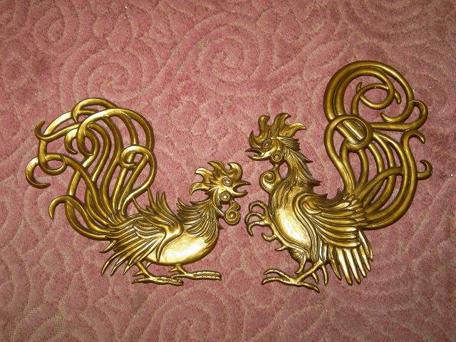 ROOSTER CHICKEN BIRD RETRO WALL DECORATION CAST ALUMINUM METAL PLAQUE SEXTON USA