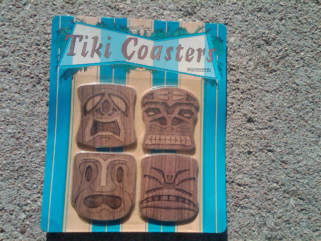 TIKIDOM POLYNESIAN GOD TIKI COASTER SET BAR DRINK GLASS ACCESSORY ORIGINAL BLISTER PACKAGE