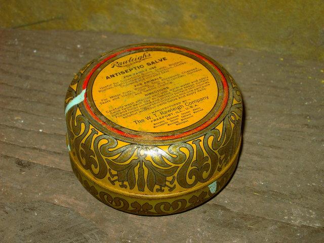 RAWLEIGHS ANTISEPTIC SALVE CAN FREEPORT ILLINOIS ADVERTISING TIN TUB