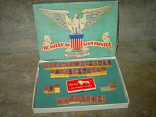 AMERICAN SIGN PRINTER RUBBER STAMP SET EAGLE SHIELD ORIGINAL BOX