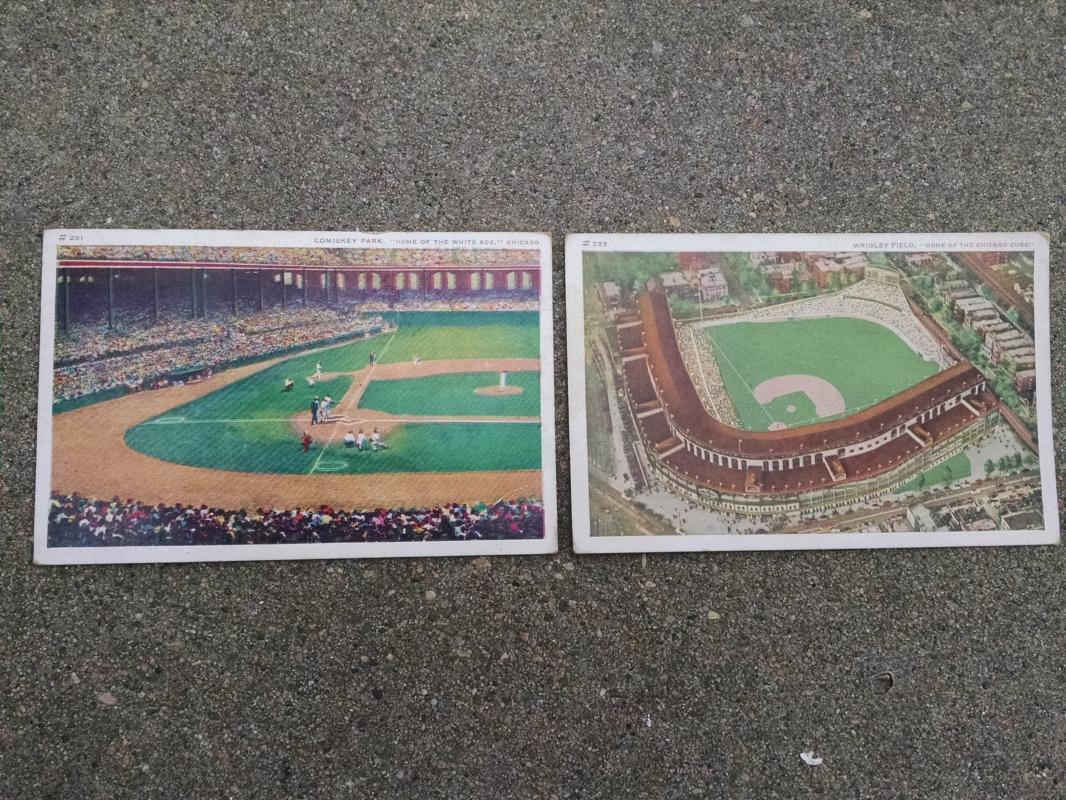 comiskey park wrigley field postcard chicago illinois historic sports team landmark cubs white sox paper collectible