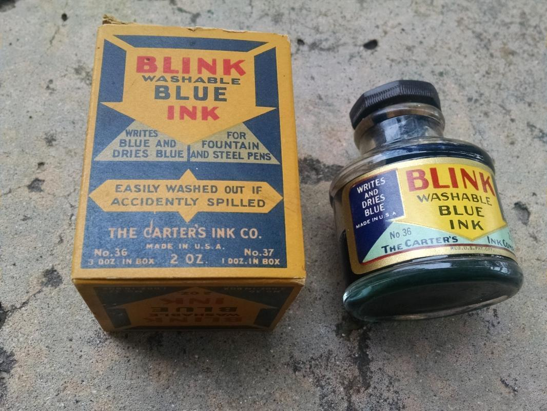 Blink Brand Blue Ink Bottle Carter's USA cardboard advertising box collectible desk accessory