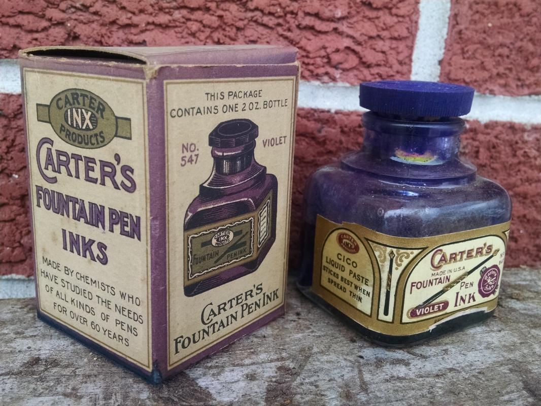 Carter's Violet fountain pen ink bottle Carter inx product colorful advertising original cardboard box