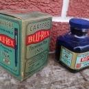 Carter's Blu Rex Ink Bottle Carter Inx Products Colorful Blue Red Original Advertising Box