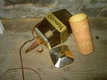 OLY OLYMPIA BEER LIGHT WALL LANTERN BAR LAMP FLORAL FLOWER PINWHEEL GOLD ORANGE TUBE CYLINDER INSERT