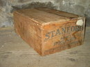 STANFORD DRIED PRUNE BOX WOODEN CRATE SAN JOSE CALIFORNIA APRICOT GROWERS ADVERTISING PRODUCE TOTE