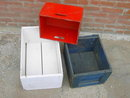 WOODEN FRUIT CRATE PAINTED BOX RED WHITE BLUE COLORS