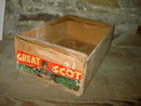 GREAT SCOT LAKEPORT SCOTTS VALLEY CALIFORNIA BARTLETT PEAR CRATE WOODEN PRODUCE TOTE BOX LAKE COUNTY MOUNTAIN PAPER LABEL