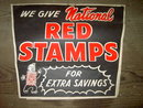 NATIONAL RED STAMPS PAPER SIGN GIFT SEAL COMPANY STORE ADVERTISING BANNER