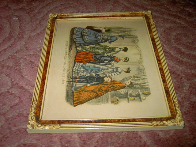 GODEY'S LADY FASHION PRINT 1869 VICTORIAN APPAREL NEW YORK MORRIS BENDIEN MARK ART NOUVEAU FRAME