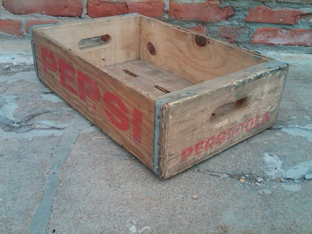 PEPSI COLA CRATE SOFT DRINK SODA POP BOTTLE TOTE BEVERAGE CARRIER CASE WOODEN BOX
