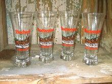 BUDWEISER CLYDESDALE HORSE BEER GLASS ANHEUSER BUSCH BELL STYLE TUMBLER SET BAR UTENSIL