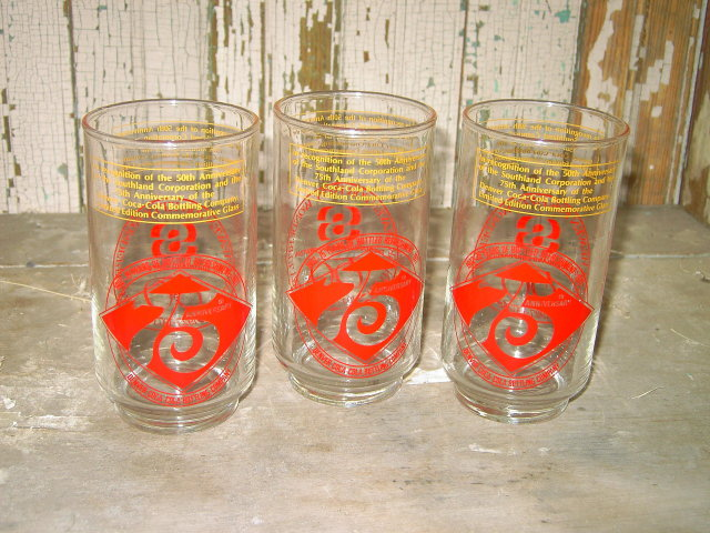 DENVER COLORADO SOUTHLAND COKE BOTTLING COMPANY TUMBLER BEVERAGE GLASS 50TH 75TH ANNIVERSARY COMMEMORATIVE BAR UTENSIL 1977 DATE