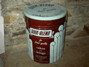 QUIK BLEND CAN ICING FROSTING SHORTENING TUB TURQUOISE BLUE BROWN PAINTED BARREL  WESSON OIL SNOWDRIFT NEW ORLEANS LOUISIANA ADVERTISING TIN CANNISTER